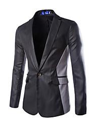 Herren Blazer-Einfarbig Freizeit / Formal Baumwollmischung Lang Schwarz / Blau / Weiß / Grau