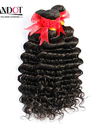 "4Pcs Lot 12""-30"" Unprocessed Raw Brazilian Deep Wave Curly Virgin Hair Wefts Natural Black Remy Human Hair Weave Bundles"