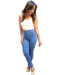 Women's Solid Blue Jeans Pants , Casual