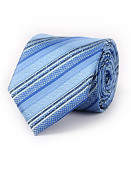 Blue Stripes Polyester Tie 8.5cm(3.3in) Silver Inlaid