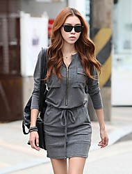 SEXY Women's Color Block Gray Dresses , Vintage / Sexy / Casual / Work Round Long Sleeve