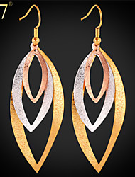 U7® Women's Multi-tone Gold Earrings for Women Gold/Rose Gold/Platinum Plated Multilayer Long Earrings