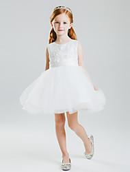 Princess Short/Mini Flower Girl Dress - Satin/Tulle Sleeveless