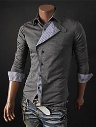 Men's Shirt Collar Casual Shirts , Cotton Blend Long Sleeve Casual Hollow Out Winter / Fall HI MAN