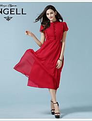 Mulheres Vestido Médio Manga Curta Colarinho Chinês Franzido / Frufru Mulheres