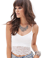 Women's Lace White Vest , U Neck Sleeveless