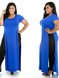 Women's Solid Blue/Black Plus Size Dresses , Casual Round Short Sleeve