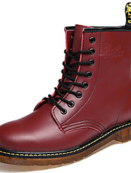 Men's Shoes Leather Casual Boots Casual Low Heel Lace-up Black / Brown / Burgundy