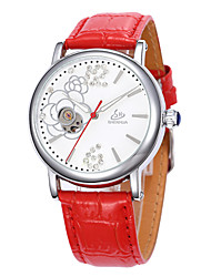 Women's Fasion  Hollow Out Full-automation  Round Dial Leather Band Machine Analog Wrist Watch(Assorted Color)
