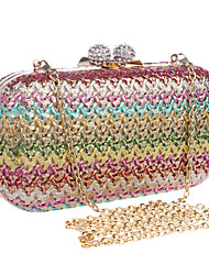 Women PU / Polyester / Metal Minaudiere Clutch / Evening Bag - Black / Multi-color