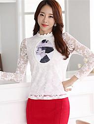 Mulheres Blusa Colarinho Chinês Manga Longa Renda Renda Mulheres