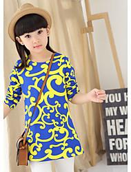 Girl's Ethnic Trend Pringing Long Sleeve Long T-shirt