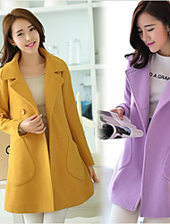Women's Solid Blue / Pink / Red / Yellow / Purple Coats & Jackets , Casual Tailored Collar Long Sleeve