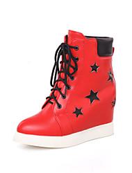 Women's Boots Fall / Winter Comfort / Round Toe Wedding / Outdoor / Dress Platform Buckle / Split Joint / Red