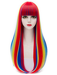 Mixed Color Ombre Harajuku Long Layered Straight Full Bang Hair Cosplay Lolita Purecas Fashion Wig