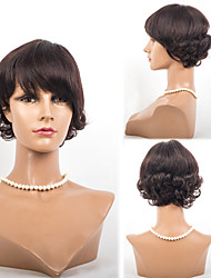 New Fashion Short Hairstyle Human Hair Wigs Dark Brown Curly Virgin Hair Non Lace Machine Wigs For Black Women