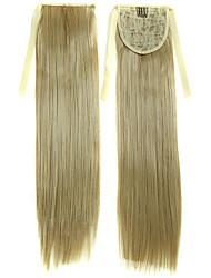 22 pouces cheveux blonds faux pince droite en ruban queue de cheval