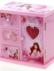 Wardrobe Style Musical Jewelry Box Swan Dancing Girl Music Box