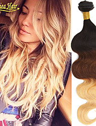 3Pcs/Lot Top Ombre Hair Extensions Hair Products Three Tone 1B 4/27 Brazilian Body Wave Cheap Ombre Brazilian Hair Wavy