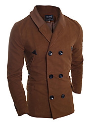 Men's Korean Style Slim Lapel Knit collar  Trench Coat