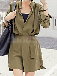 CEN     Women's Solid Color Green Coats & Jackets , Casual Asymmetrical Long Sleeve