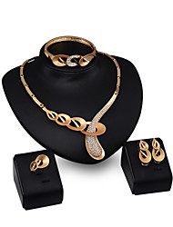 XIXI Crystal Jewelry Set Gold Plated Jewelry Set With Crystal Necklace For Bridal Bridal Wedding Party