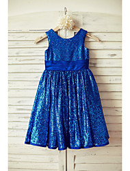 A-line Knee-length Flower Girl Dress - Satin Sequined Scoop with Bow(s) Sash / Ribbon Sequins