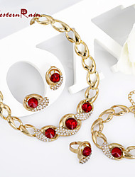WesternRain Red Crystal Jewelry Set Gold Plated Jewelry Set With Crystal Necklace For Bridal Bridal Wedding Party