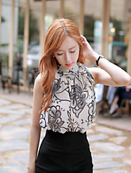 Women's Print White Blouse , Casual Halter Sleeveless Flower