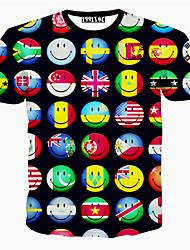T-Shirts ( Coton mélangé ) Informel / Imprimé / Soirée Rond à Shorts pour Unisexe