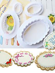 4-Piece Fondant Cake Oval Cutter Mold DIY Paste Ellipsoid Sugarcraft Decor Tool