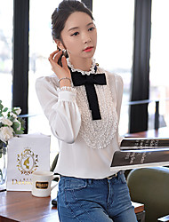 DABUWAWA Women's Stand Casual Lace Bow OL Puff Sleeve Shirt
