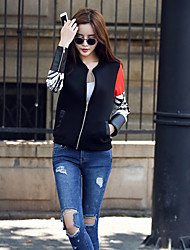 Women's Patchwork Black Jackets , Casual Stand Long Sleeve