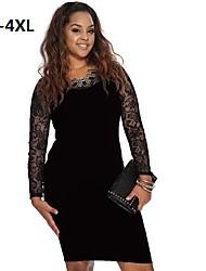 Women's Plus Sizes Party Dress Long Sleeve Knee-length Clubwear Sexy Dress (Lace/Nylon/Elastic)