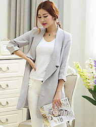Women's Solid White / Gray Trench Coat , Vintage Long Sleeve Cotton
