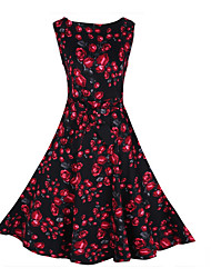 SEXY Women's Floral Red / Black / Purple Dresses , Vintage / Sexy / Casual / Work Round Sleeveless