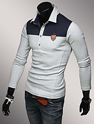 Men's Long Sleeve Polo , Cotton Casual / Work / Sport Pure