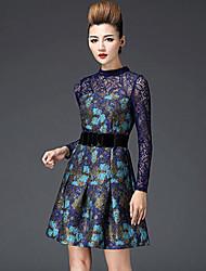 De las mujeres Vestido Escote Chino - Microfibra - Manga Larga