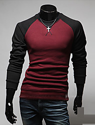 Men's Round T-Shirts , Cotton / Polyester Long Sleeve Casual / Work Fashion Winter / Spring / Fall TOPHERE