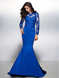 Formal Evening Dress - Open Back Trumpet / Mermaid Jewel Court Train Lace Satin with Lace