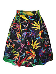 PinkQueen Women's Polyester/Cotton  Colorful Leaves Printed  Pleated Skirt