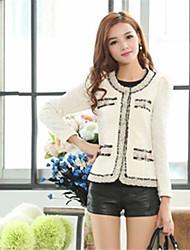 Women's Winter Blazer,Solid Stand Long Sleeve White / Black