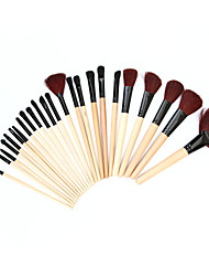 Professional Cosmetic Makeup Tools 24 Pieces Wood Handle Wool Brushes Set w/ Leather Case - Black