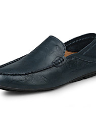 Men's Shoes Leather Summer Fall Moccasin Loafers & Slip-Ons For Casual Office & Career Black Brown Blue
