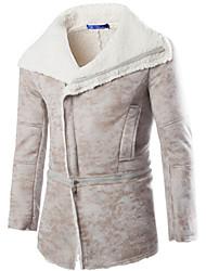 Men's Large Lapel Oblique Zipper Artificial Leather  Warm Coat