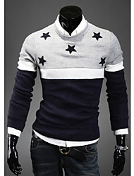 Men's Round Sweaters , Cotton Blend Long Sleeve Casual Hollow Out Winter / Fall HI MAN