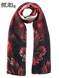 La Beau Red Flower Print Polyester Scarf