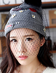 Women Knitwear Beanie/Slouchy with Veil , Vintage/Casual Winter