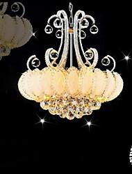 putian ™ 220v modernos lustres de prata 8 luzes em função de cristal