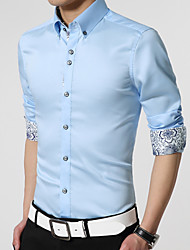 Men's Casual/Daily Work Plus Size Simple Spring Fall Shirt,Solid Long Sleeves Cotton